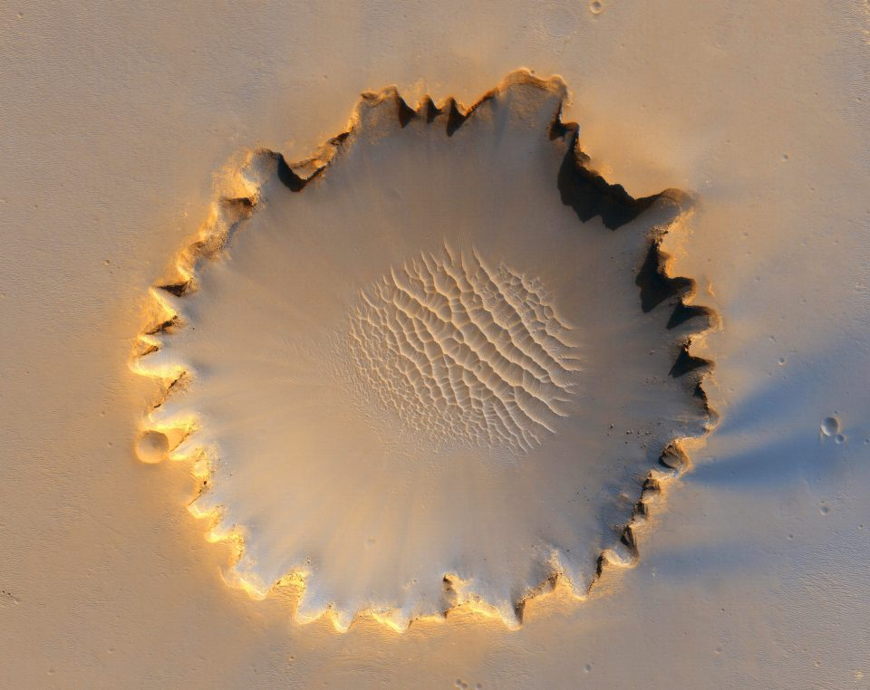 The Victoria crater, located in the Meridiani Planum, near the equator of Mars.